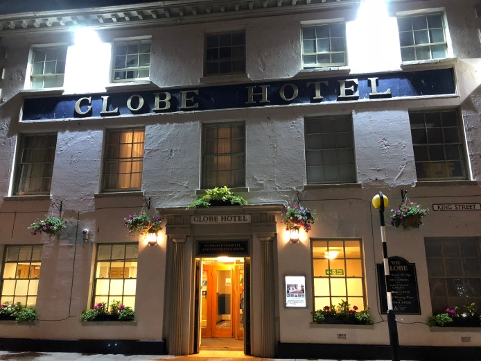 """Our hotel """"The Globe"""" for the night"""