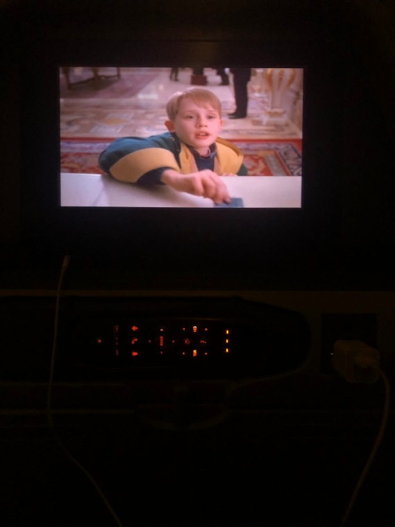 The plane was full of Christmas movie selection so of course I chose Home Alone 2 for one of them